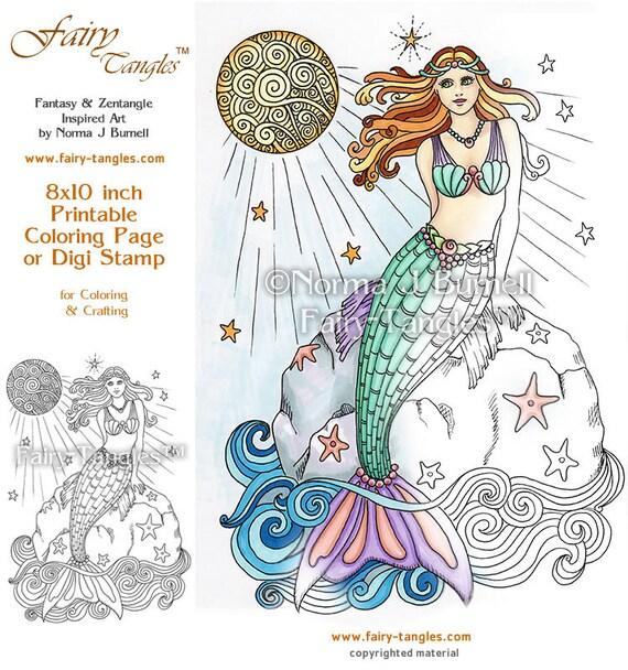 full moon swimming mermaid fairy tangles printable coloring