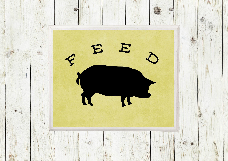 Pig Decor Kitchen Feed Sign Pig Sign Pig Wall Art Pig