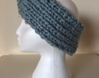 Stone Blue Twist Hand Knit Headband