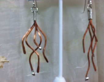 Sterling Silver and Copper Branch Dangle Earrings