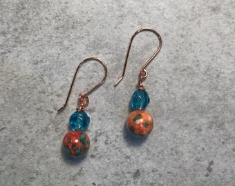 Copper and ceramic bead earrings