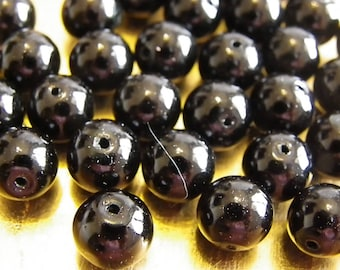 50 beautiful black 10 mm without being mother of Pearl round beads