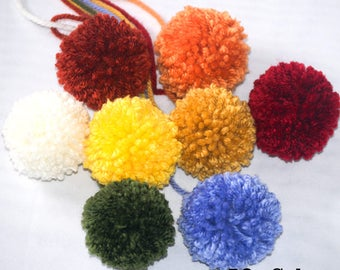 8 Small Yarn Pom Poms - Made to Order 2 inch Pompoms with Yarn Tails in 55 Color Choices - DIY Nursery Mobile or Garland - Party Decoration