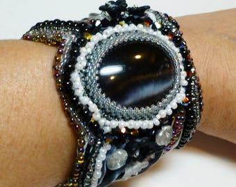 White, Black and Gray Shibori and Embroidered Bead Cuff Bracelet