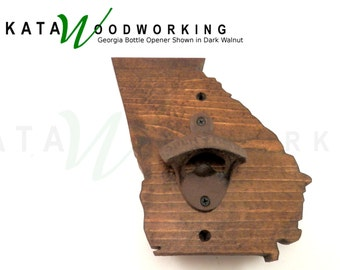 Georgia Shaped Wood Cut-out Bottle Opener - Wall Mount -  Handmade