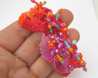 Colorful jewelry for women, Colorful bracelet, Boho jewelry,  Gift for her, Pink orange bracelet, Beaded bracelet, Freeform peyote