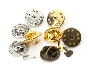 50PCS. Lapel Pins, Round Tie Tack Pin, Bezel Blank, Pin Back, Men Bezel Brooch Collar Clip, Pin and Brooch