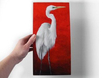 White Egret painting on red - egret art original painting - crimson red - Asian inspired - zen bird art - marsh bird - shore bird painting