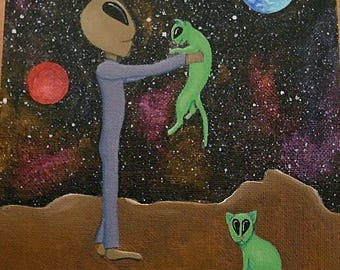 """Alien with pet cats. Original art painting 6"""" x 8"""". One of a kind."""