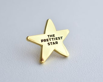 Lapel pin // The Prettiest Star // David Bowie // song quote cute small star gold // enamel pin