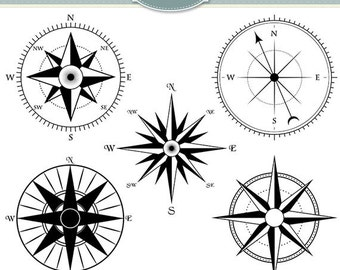 Compass Clipart Vector Compass Clip Art Steampunk Nautical Digital Scrapbooking Invitations Logo Silhouette Instant Download