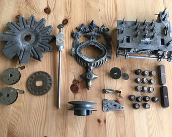Lot #10 Assemblage Steampunk Industrial Found Object Altered Art Supplies, 29 Pcs. Metal Gear, Machine Buttons, Sewing Machine Part, Spools