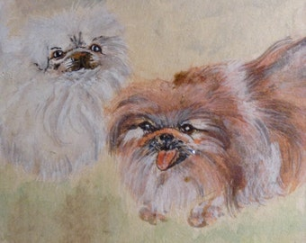 "ON SALE NOW! Original Watercolor Gouache Chinese Brush Painting Two Dogs ""Pekes"" Signed Lasha, La Jolla Estate, Framed"