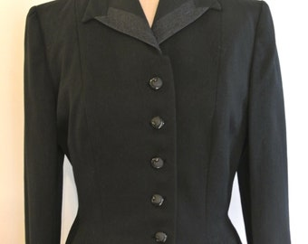 1940s Mayfair black wool, fitted jacket with unusal buttons