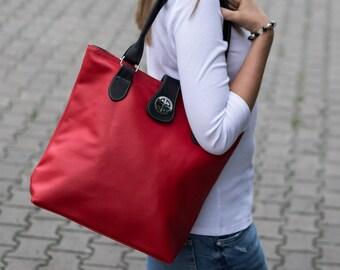 Leather Tote Bag, Shoulder Bag, Leather Bag, Large Handbag, Tote Bag, Handmade Purse, Shopper Bag Laptop Bag, Gift for Her, Red Leather Tote