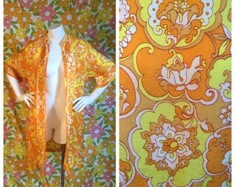 70s Vintage Psychedelic Kimono Duster Large XL