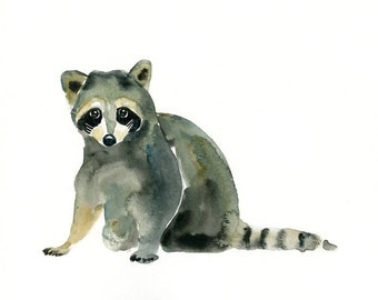 RACCOON-7x5inch Print- -Kid's Wall Art-Nursery decor- Playroom Decor-Nursery wall art