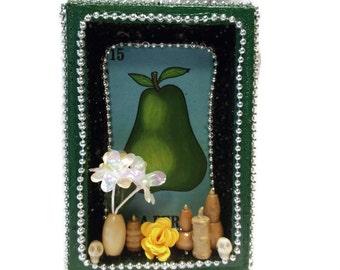 Mexican Loteria, Loteria Kitchen Decor, Pear Magnet, Mexican Wood Nicho, Loteria Card, Mexican Kitsch, Loteria Decorations, Green Pear Box