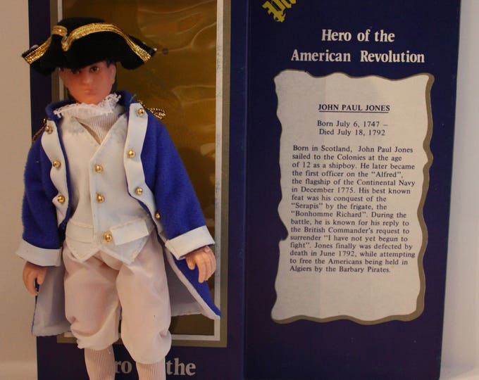 "Hero of the American Revolution 7"" John Paul Jones Doll Action Figure 1976 RT Toys Hong Kong NM in Box"