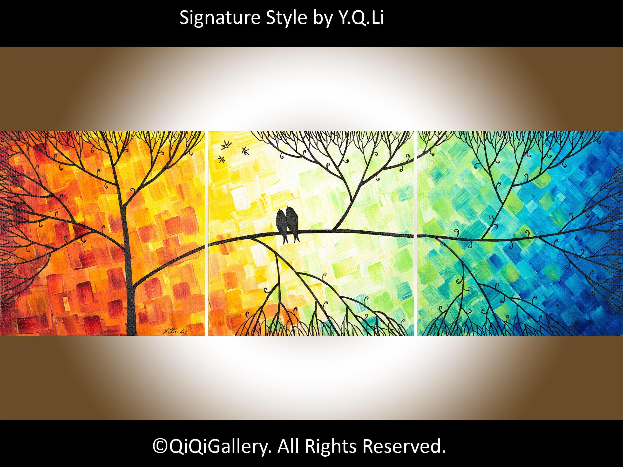Rainbow Colour love birds art canvas art wall decor gift for