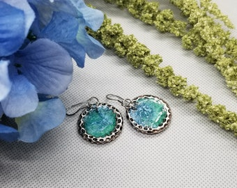 Antique silver resin earrings, blue, green, handmade earrings, round, silver, unique jewelry