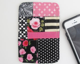 Patchwork Phone Coaster | Pink and black patchwork fabric smartphone accessory for desk or home.
