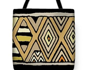 AfricanTribal Kuba Design Tote Bag Gift - Africa Decor Kuba Throw Pillow Gift - Tribal Decor Pillow - African Tribal Tote Bag Accessory Gift