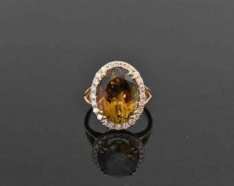 14K Rose Gold Green Tourmaline & Diamond Ring | Engagement Ring | Statement Ring | Handmade Fine Jewelry | Diamond Halo | Wedding Ring |