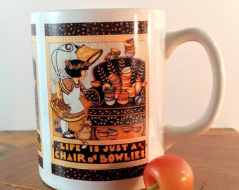 """Vintage Mary Engelbreit """"Life is Just a Chair Full of Bowlies"""" Coffee Cup from 1992. Retro, Pop Culture Collectibles."""