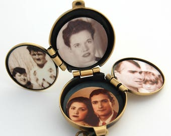 Incredible Four-Way Locket Necklace Family Album Lockets Mourning Jewelry 4 Picture Photograph Unique Gift Customize Lapis Blue Gemstone