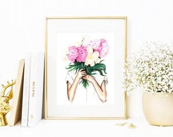 Spring • Fashion Illustration | Glicée Art Print | Wall Art | Botanical Art | Watercolor