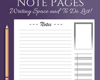 Planner Note, list or  to do Pages, Letter and Half Letter Size!