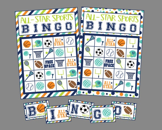 All Star Sports Bingo Game. Printable Bingo Game Set Incl. 12 Game Cards &  Calling Cards. Basketball, Baseball, Football, Soccer, Sports