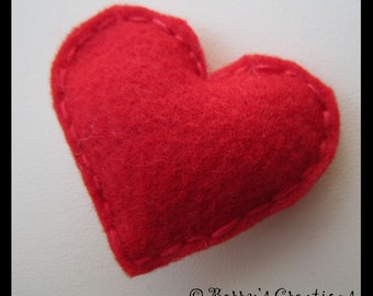 Red Felt Heart with Red Thread Finish. Party Favors.