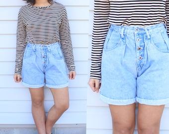 Medium Wash Button Up Denim Shorts