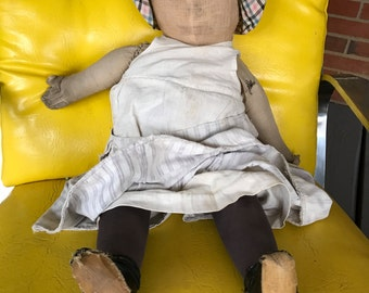 """Early Antique Primitive Cloth Rag Doll  - 28"""""""