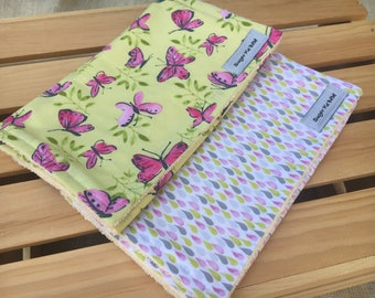Burp Cloth Set / Gifts for Baby Girls / Butterfly Baby Gifts