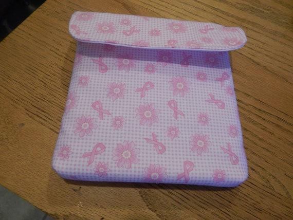 Stamparatus Portfolio Case  with Pocket Flap Cover Pink Breast Cancer Ribbon Design Velcro Enclosure