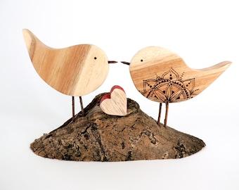 Love Bird Wood Art - Wood Art Sculpture, Wedding Gift, engagement Gift, Gift for Her, Wood Art, New Home Gift, Bird Lover Gift, Pyrography