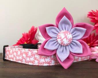 Bright, Dog collar, easter dog collar, dog collar, bunny dog collar, spring dog collar, bunny collar, floral collar, easter collar flower