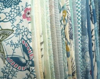 Kimono Scraps Japanese Textile Fabric Mix Bag 23 pcs Blue Set, Most of Silk, Silk Remnants