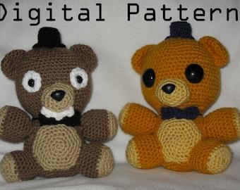 Freddy and Golden Freddy Crochet DIGITAL PATTERN DOWNLOAD