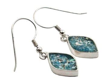 Roman Glass Diamond Shaped Earrings, Roman Glass Earrings, Israel Jewelry, Romantic Earrings, Roman Glass 925 Silver Earring, Dangle Earring