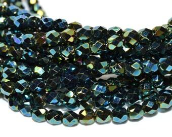 Iris Green Fire Polished Czech Glass Beads 6mm - CZ0062 50 pcs