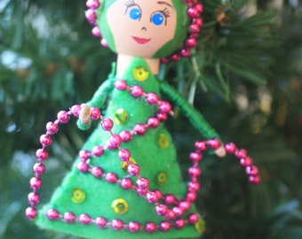 Custom Christmas Tree Girl Ornament. Christmas Ornament. Clothespin Doll. Unique Ornament.