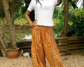 Ladies Baggy Pants Trousers Balloon Pants Beach Pants Yoga Gym Striped Orange