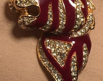 Vintage Brooch, Tiger Brooch, Enamelled Vintage Brooch, 80s Brooch