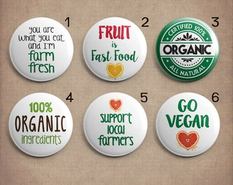 Organic Vegan Local Farmer Themed Changeable Magnetic Pendant Toppers or Refrigerator Magnets Choose Individual Magnets or the Complete Set