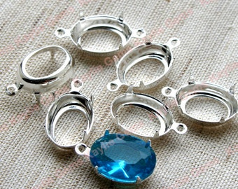 Prong Setting Sterling Silver Plated Oval 14x10mm Open Back with 1 Ring / 2 Rings - 6pcs