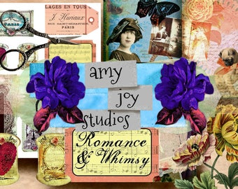 Romance & Whimsy  Printable Journal Paper  Digital Journal Kit  Vintage  Victorian  Junk Journal  vintage   SmashBook   Ephemera pack